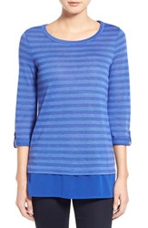 Women's Caslon Layer Look Stripe Roll Sleeve Tunic Blue Stripe