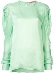 Maggie Marilyn Stop To Smell The Roses Silk Blouse Green