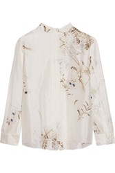 Marni Printed Silk Chiffon Shirt Cream