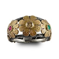 Emma Chapman Jewels Diamond Ruby And Emerald Gold Flower Ring Green White Red