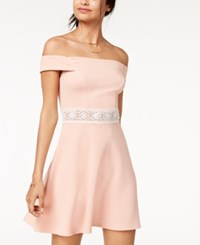 Teeze Me Juniors' Off The Shoulder Fit And Flare Dress Blush
