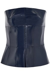 Alexander Mcqueen Coated Leather Peplum Top Blue