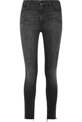 Mother Looker Frayed High Rise Skinny Jeans Gray