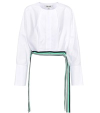 Diane Von Furstenberg Cotton Cropped Side Tie Blouse White