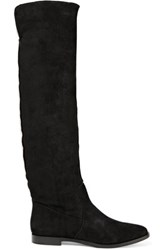 Sergio Rossi Shearling Lined Suede Knee Boots Black