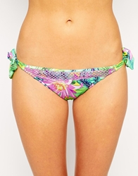 Baku Chi Chi Print Tie Side Bikini Bottom Citrusyellow