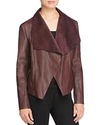 Bagatelle Draped Faux Leather Jacket Plum