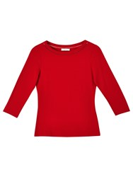 Precis Petite Mya Neck Detail Jersey Top Mid Red