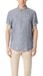 Scotch And Soda Structured Linen Short Sleeve Shirt Denim Blue Melange