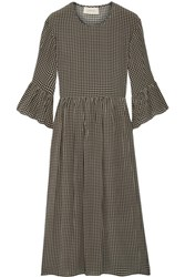 The Great Sweetie Gingham Silk Midi Dress Army Green