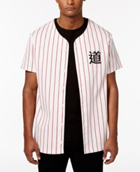 Jaywalker Men's Stripe Embroidered Baseball Shirt Only At Macy's Red White