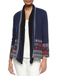 Johnny Was Femme Embroidered Linen Cardigan Navy