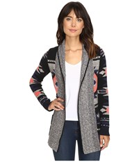 Lucky Brand Intarsia Sweater Coat Grey Multi Women's Coat Gray
