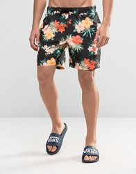 Asos Swim Shorts With Orange Tropical Floral Print In Mid Length Black
