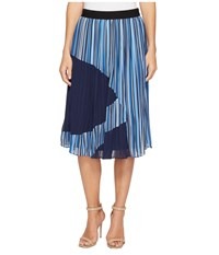 Catherine Malandrino Francis Skirt Chain Stripe Combo Women's Skirt Blue