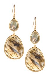 Candela 18K Gold Plated Sterling Silver Double Labradorite Dangle Earrings Gray