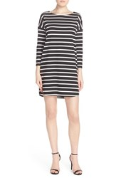 Women's Bb Dakota 'Phillipa' Stripe Ponte Shift Dress Black