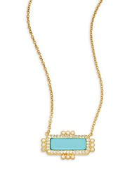 Freida Rothman Classic Turquoise Cubic Zirconia And 14K Gold Plated Sterling Silver Pendant Necklace