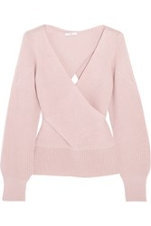 Tome Wrap Effect Ribbed Wool Sweater Blush