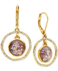 Lonna And Lilly Gold Tone Purple Stone Pave Orbital Drop Earrings