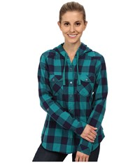 Columbia Times Two Hooded Long Sleeve Shirt Emerald Buffalo Plaid Women's Long Sleeve Button Up