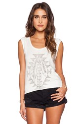 Daydreamer Tribal Feathers Tee Cream