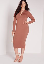 Missguided Plus Size Lace Up Dress Tan Brown