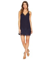 Brigitte Bailey Damaris Lace V Neck Dress With Embroidery Navy Women's Clothing
