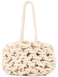 Alienina Braided Tote Bag White