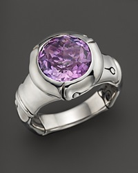 John Hardy Batu Bamboo Silver Small Round Ring With Amethyst Purple Silver
