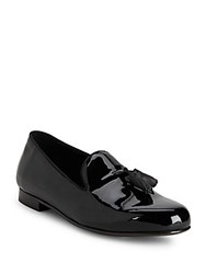 Saks Fifth Avenue Made In Italy Tasseled Patent Leather Loafers Black