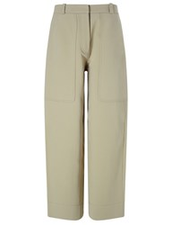 Cedric Charlier Beige Cotton Twill Carrot Trousers