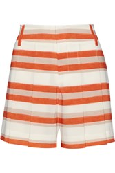 Alice Olivia Flutter Striped Crepe De Chine Shorts Orange
