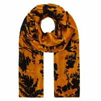 Klements Long Velvet Scarf In Garden Puppets Print Gold