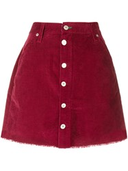 Tommy Jeans Corduroy Buttoned Skirt Red