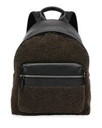 Salvatore Ferragamo Leather Trim Sherpa Backpack Brown
