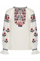 Love Sam Crochet Trimmed Embroidered Cotton Blend Voile Blouse Ivory