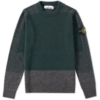 Stone Island Brushed Wool Panel Crew Knit Green