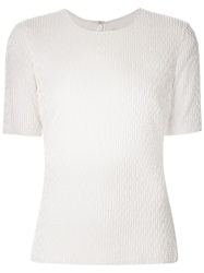 Jason Wu Beaded Short Sleeve Top White