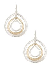Spring Street Triple Circle Mixed Drop Earrings Metallic