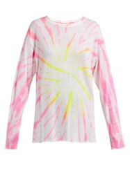 The Elder Statesman Cyclone Tie Dyed Cashmere Blend T Shirt Pink Multi