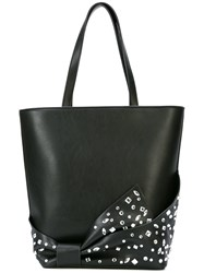 Christian Siriano Embellished Bow Shopper Tote Black