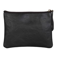 N'damus London Black Leather Flat Makeup Pouch