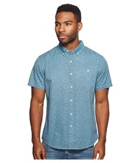 Vissla Mandurah Short Sleeve Printed Woven Top Pacific Blue Men's Clothing