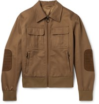 Neil Barrett Suede Trimmed Cotton Canvas Blouson Jacket Brown
