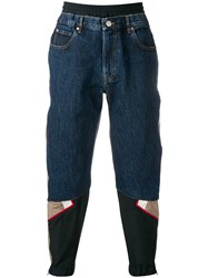 Martine Rose Baggy Jeans With Track Strap Blue
