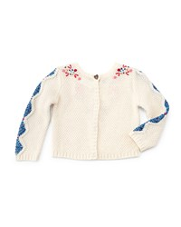 Catimini Long Sleeve Embroidered Crotchet Sweater Ivory