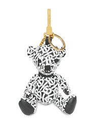Burberry Thomas Bear Charm In Monogram Print Leather Black