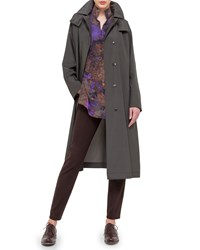 Akris Hooded Taffeta Long Trenchcoat Cypress