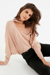 Urban Outfitters Uo Jade Cut Out Turtleneck Top Beige